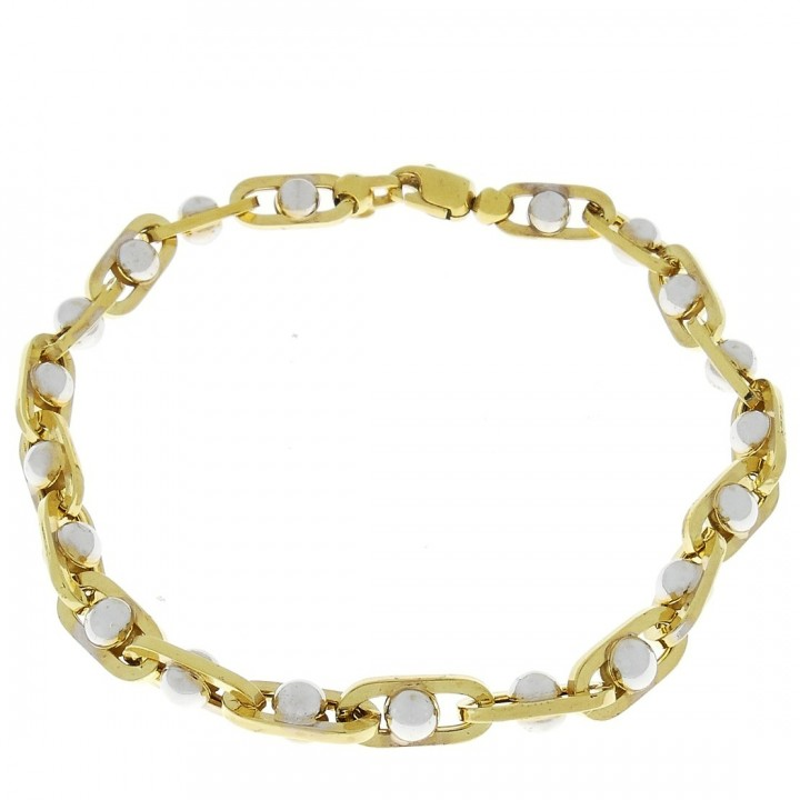 Gold bracelet, yellow and white gold, length 22 cm
