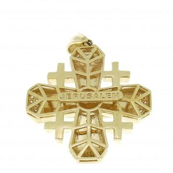 Иерусалимский крест, желтое золото 14 карат с бриллиантами