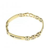 Золотой браслет, желтое и белое золото, цирконий, длина 21,5 см