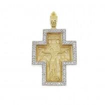 Золотая подвеска - Крест, желтое и белое золото с бриллиантами, вес 9,1 гр