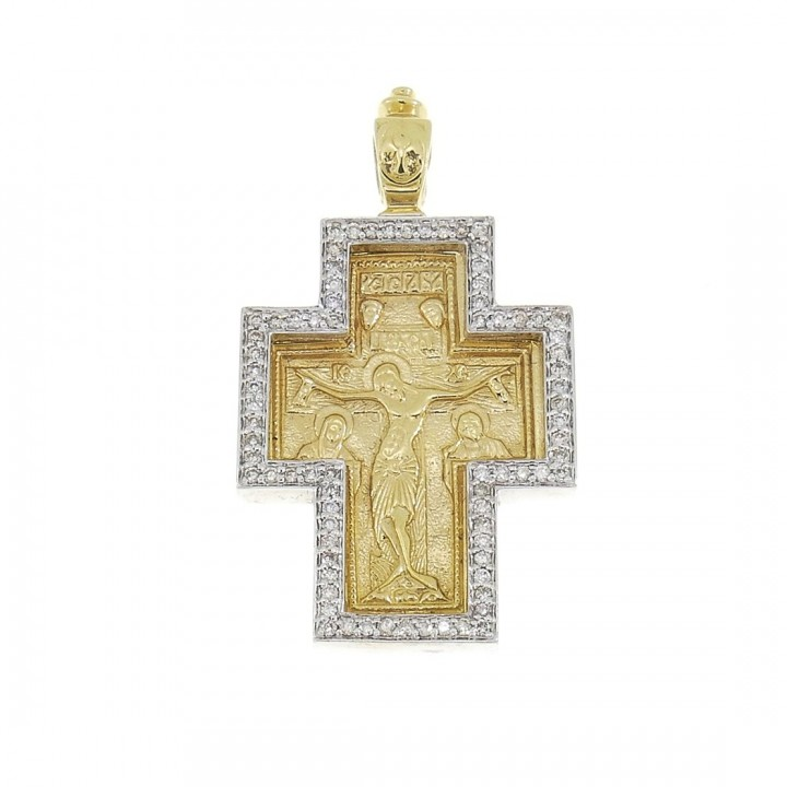 Gold pendant - Cross, yellow and white gold with diamonds, weight 9.1 g