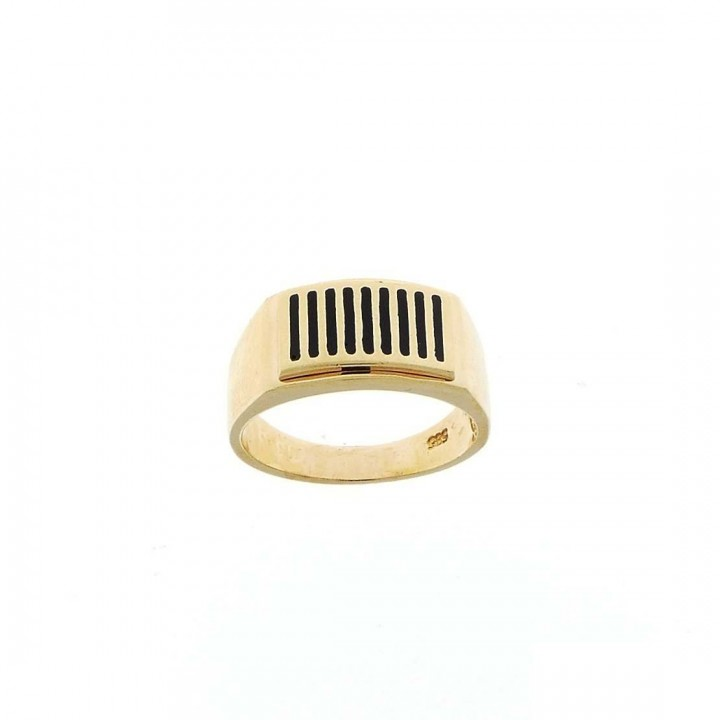 Gold men`s ring, yellow gold, black onyx