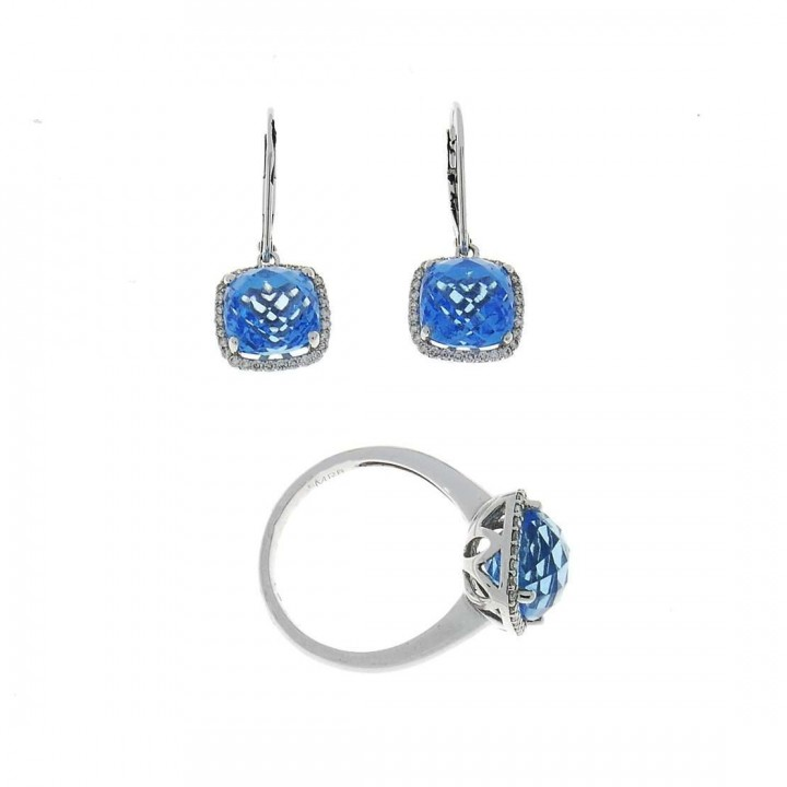 סט לאישה - טבעת ועגילים עם יהלומים וטופז