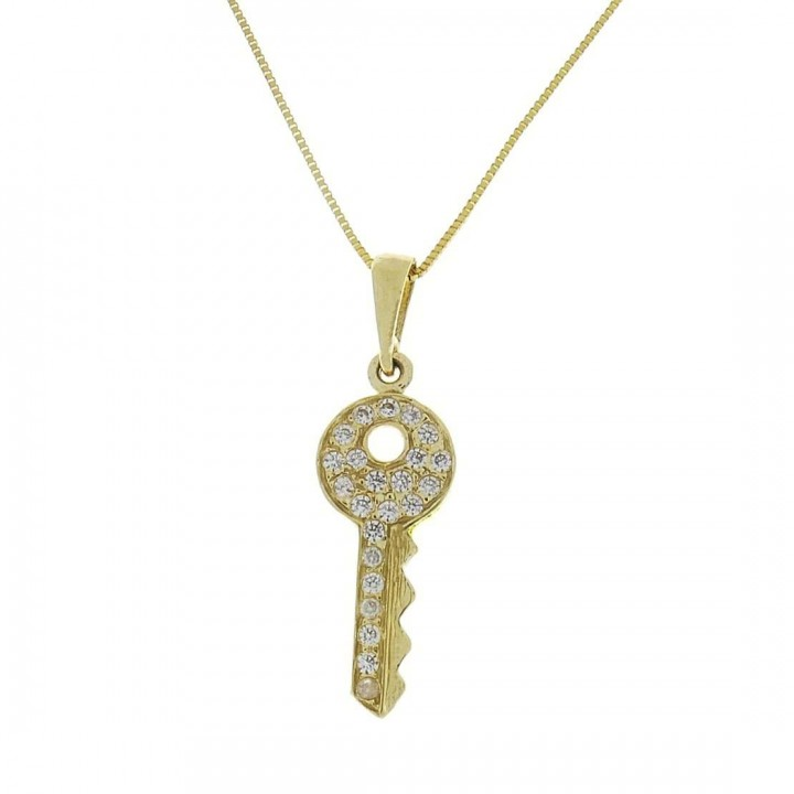 Pendant for woman - key, yellow gold with zirconium, weight 1.12 grams