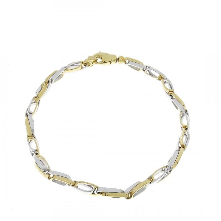 Золотой браслет, желтое и белое золото 19 см
