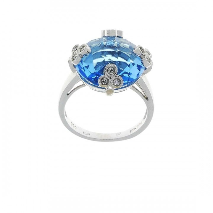 Кольцо для женщины, белое золото 14 карат с бриллиантами и топазом, размер 14/54