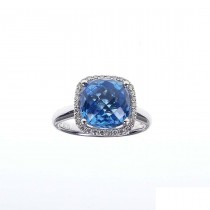 Set for women - ring and earrings with diamonds and topaz