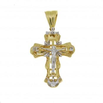 Золотая подвеска - крест, желтое и белое золото, вес 9,09 гр
