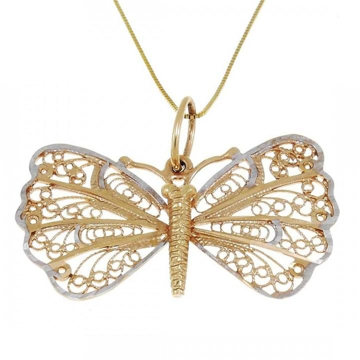 Кулон для женщины - бабочка, желтое и белое золото, вес 3,32 грамма