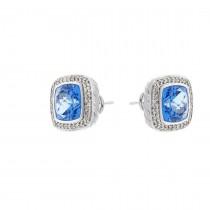 עגילים לאישה עם יהלומים לבנים וטופז כחול, זהב לבן