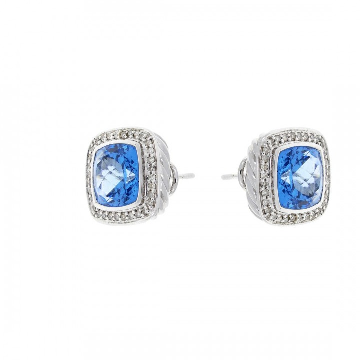 Gold earrings with white diamonds and blue topaz, white gold