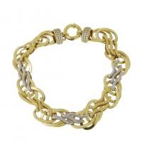 Золотой браслет, желтое и белое золото, вес 13,22 грамма