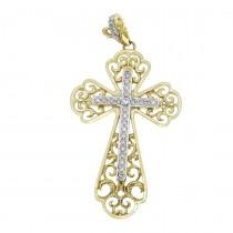 Золотая подвеска - Крест, желтое и белое золото с бриллиантами, вес 5,23 грамм