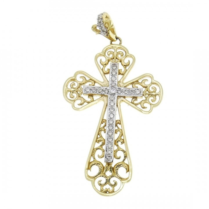 Gold pendant - Cross, yellow and white gold with diamonds, weight 5.23 grams