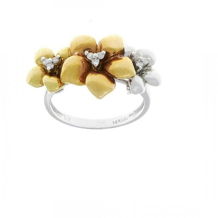 Кольцо для женщины, белое и желтое золото 14 карат с бриллиантами, размер 14/54