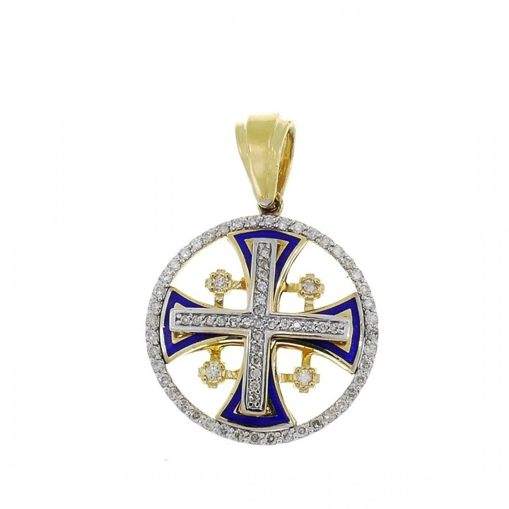 Gold Pendant - Jerusalem Cross, yellow gold with diamonds, weight 6.18 grams