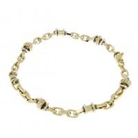 Золотой браслет, белое и желтое золото 21 см