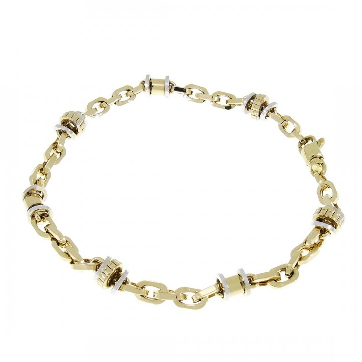 Gold bracelet, white and yellow gold 21 cm
