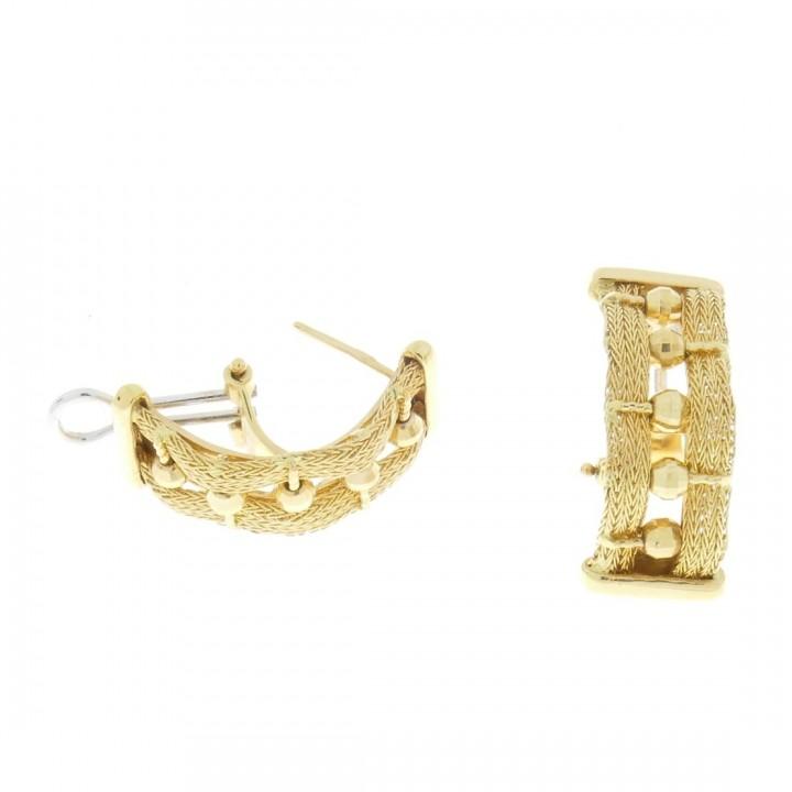 Серьги для женщины, желтое золото, вес 7,78 грамм