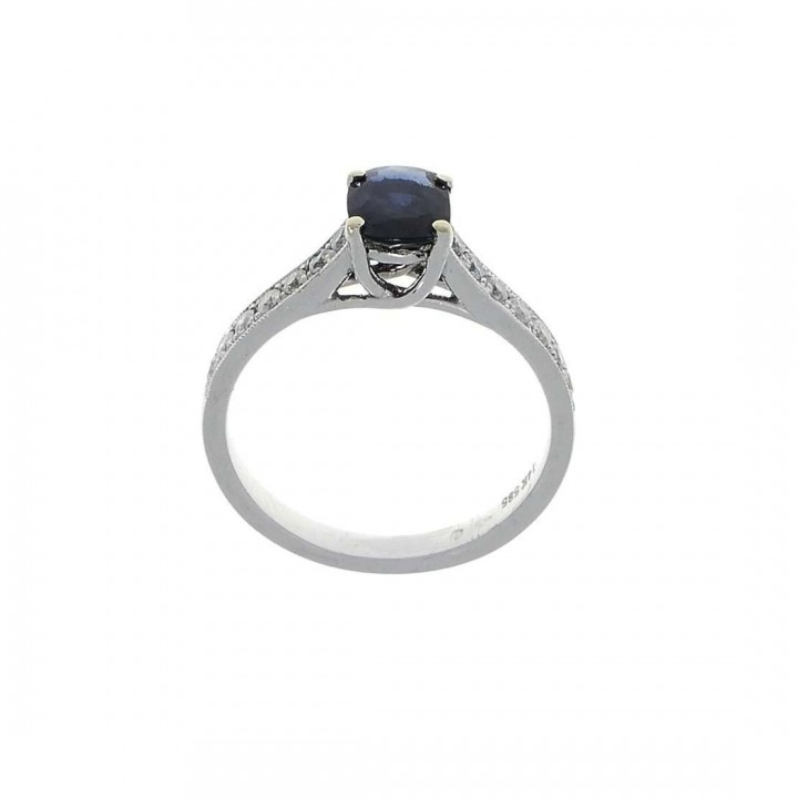 Ring for women, 14 ct white gold with diamonds and sapphire