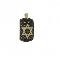 Gold pendant - Star of David, yellow gold and zirconium, weight 6.01 g