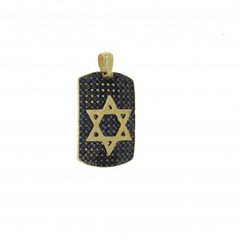 Золотая подвеска - звезда Давида, желтое золото и цирконий, вес 6,01 гр