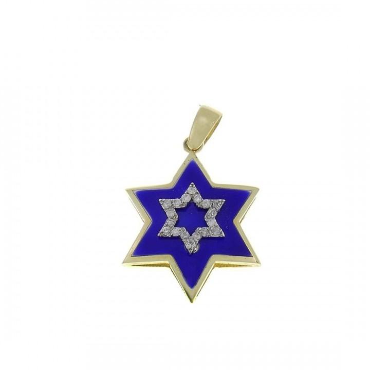 Золотая подвеска - звезда Давида, желтое золото с бриллиантами, вес 2,83 грамма