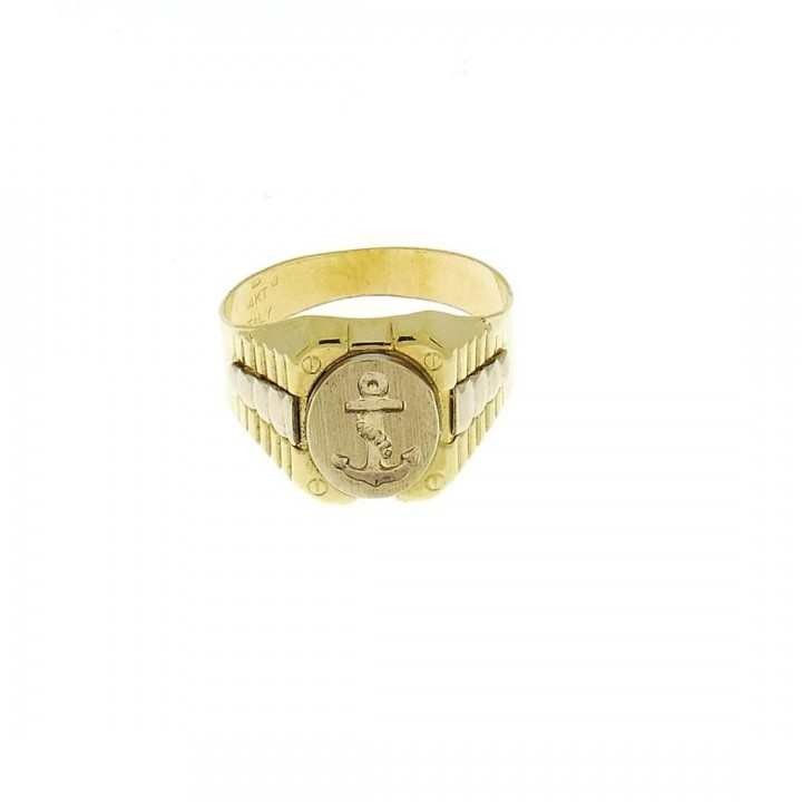 Golden men`s ring, yellow gold with an anchor