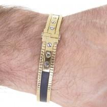 צמיד לגבר, זהב צהוב וגומי, קוטר 7 ס``מ