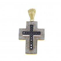 Gold pendant - Cross, yellow gold with diamonds, weight 8,06 grams