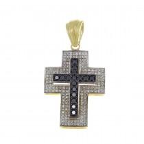 Золотая подвеска - Крест, желтое золото с бриллиантами, вес 8,06 грамм