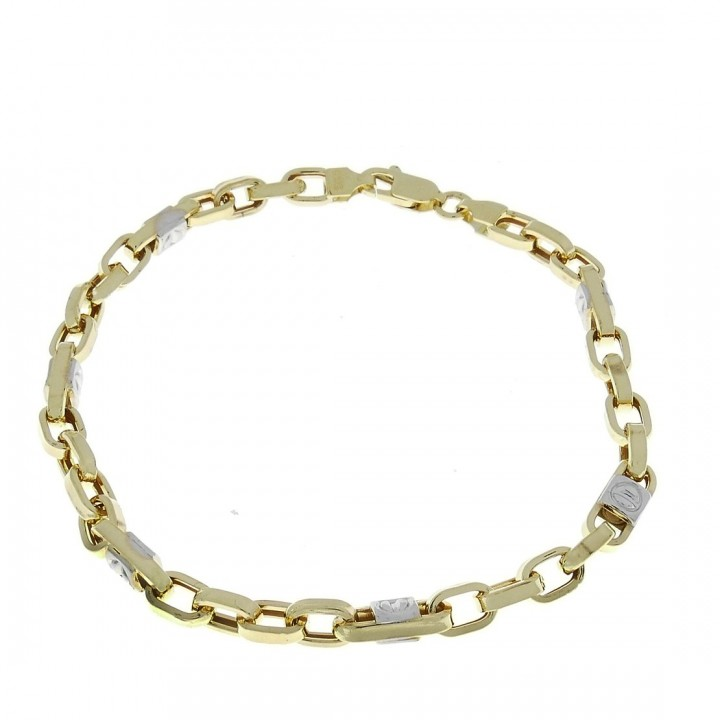 Gold bracelet, yellow and white gold, 22 cm