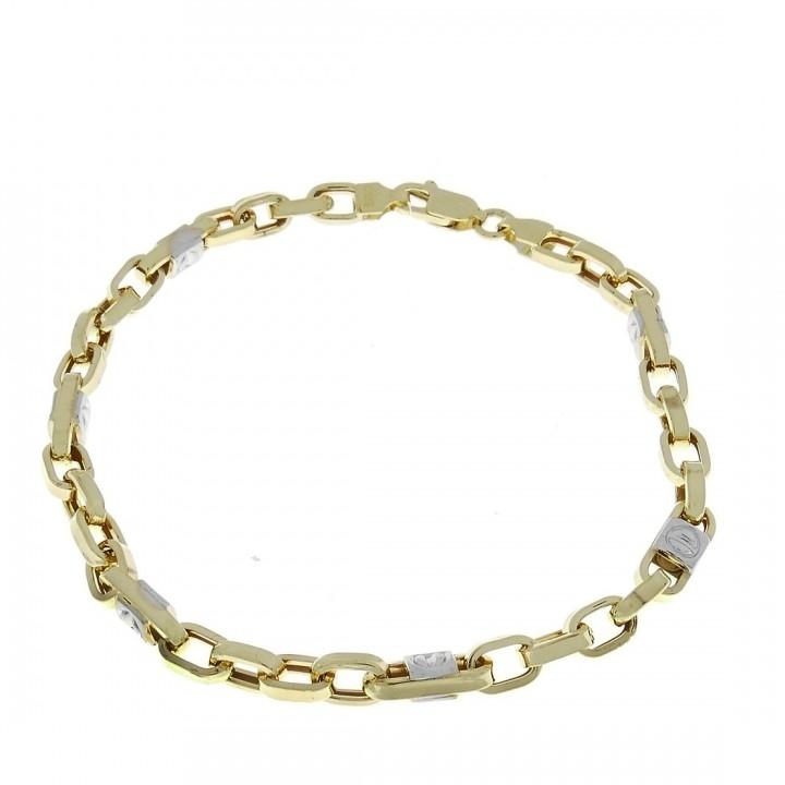 Золотой браслет, желтое и белое золото, 22 см