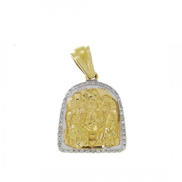 Золотая подвеска - Икона, белое и желтое золото с бриллиантами, вес 5,92 грамма