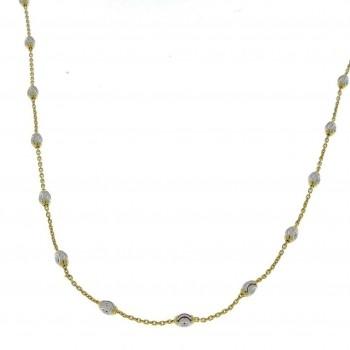 Цепочка для женщины, желтое и белое золото, длина 49 см