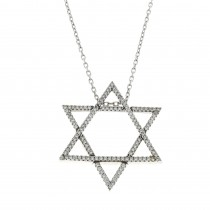 Pendant - Star of David, 14K white gold with cubic zirkonia, length 50 cm