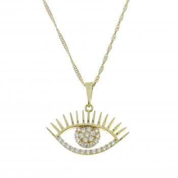 Gold pendant - eye, 14K yellow gold, cubic zirconia
