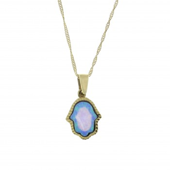 Gold pendant - Hamsa, 14K yellow gold with mother-of-pearl