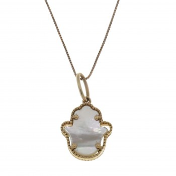 Gold pendant - Hamsa, 14K red gold with mother-of-pearl