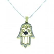 תליון זהב - חמסה (יד של פטימה), זהב צהוב עם יהלומים