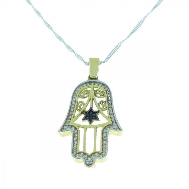 Gold pendant - hamsa (hand of Fatima), yellow gold with diamonds