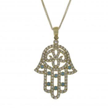 Gold pendant - Hamsa, 14K yellow gold