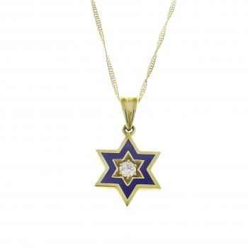 Золотой кулон - звезда Давида, желтое золото 14 карат с бриллиантами
