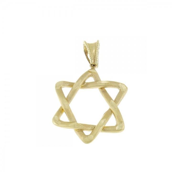 Кулон - звезда Давида, желтое золото 585, длина - 3 см