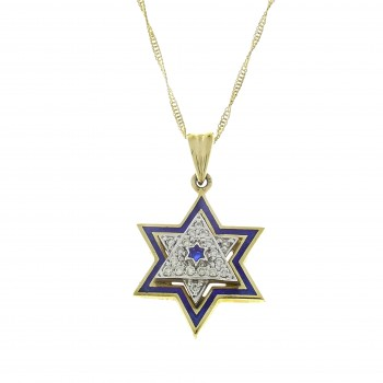 Золотой кулон - звезда Давида, жёлтое золото 14 карат с бриллиантами