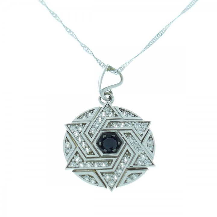 Gold pendant - star of David, white gold