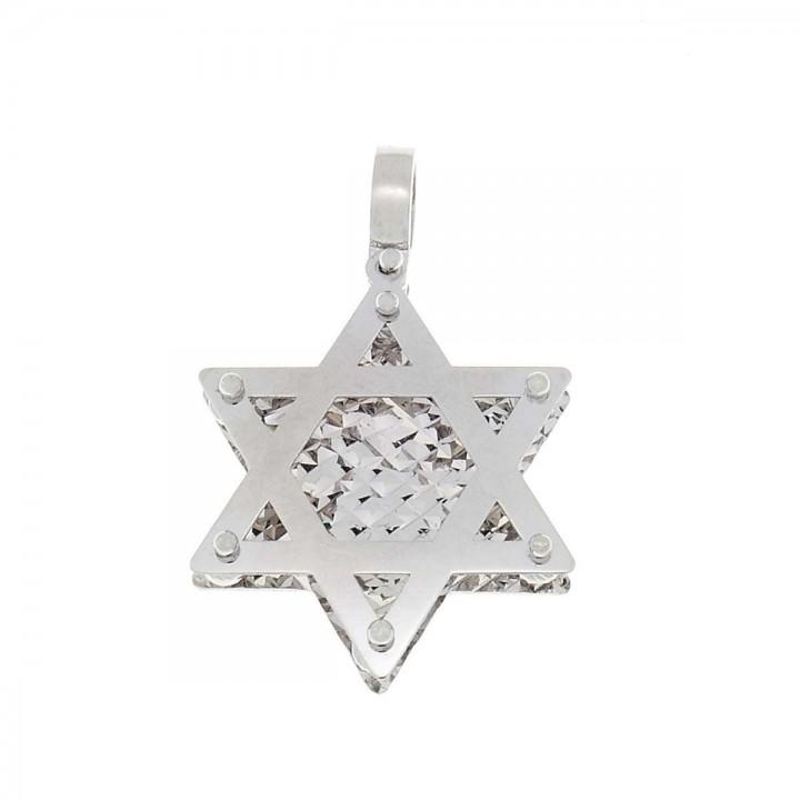 Кулон - звезда Давида, белое золото 585, длина - 3.5 см