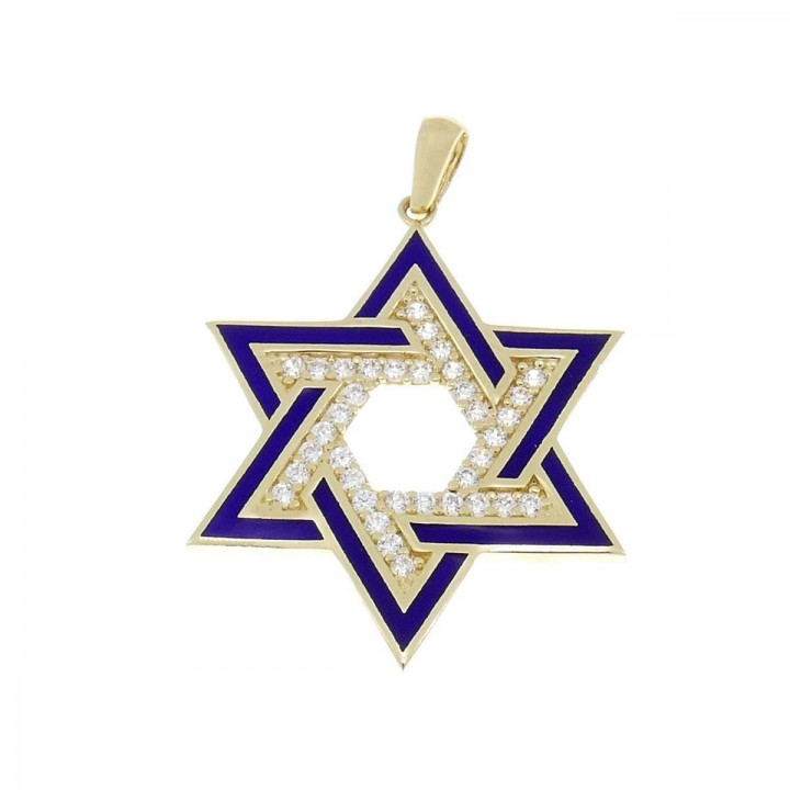 Pendant - Star of David, yellow gold 585, length - 3.5 cm