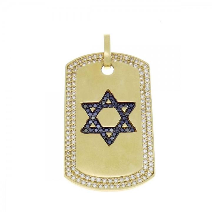 Кулон - звезда Давида, желтое золото 585, длина - 4 см