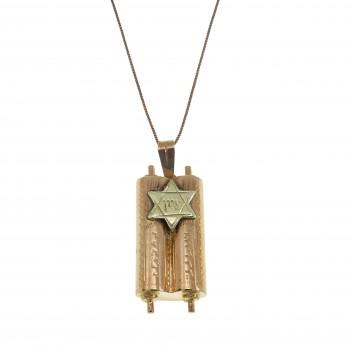 Gold pendant - Magen David and Torah, 14K red gold